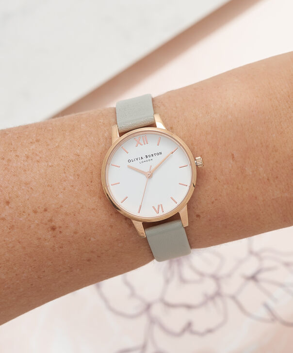 OLIVIA BURTON LONDON  White Dial Grey & Rose Gold Watch OB16MDW05 – Midi Dial Round in White and Grey - Other view