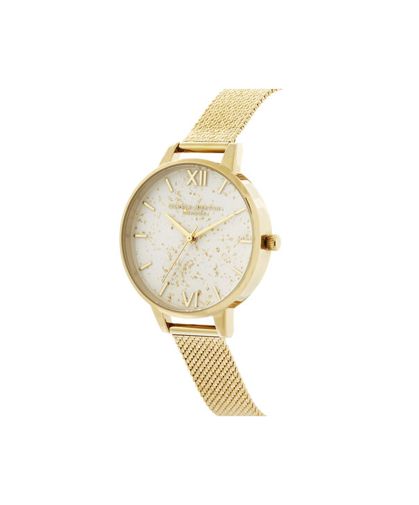 OLIVIA BURTON LONDON Celestial Demi Dial Watch with Boucle MeshOB16GD15 – Demi Dial in gold and Gold - Side view