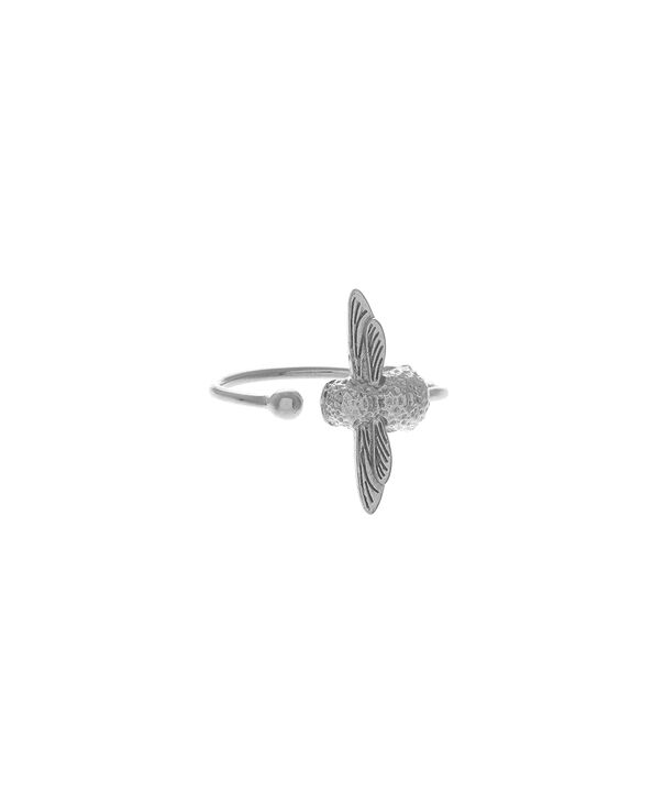 OLIVIA BURTON LONDON  3D Bee Ring Silver OBJ16AMR03 – 3D Bee Ring - Front view