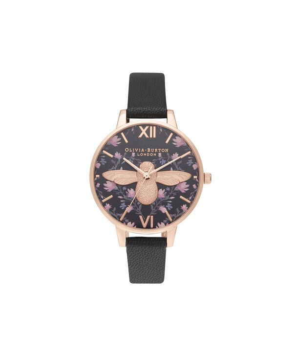 OLIVIA BURTON LONDON Meant to Bee Demi Black & Rose GoldOB16AM165 – Demi Dial In Black And Rose Gold - Front view