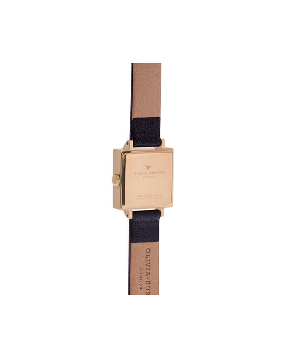 OLIVIA BURTON LONDON  3D Bee Square Dial Black & Rose Gold Watch OB16AM128 – Midi Dial Square in Black - Back view