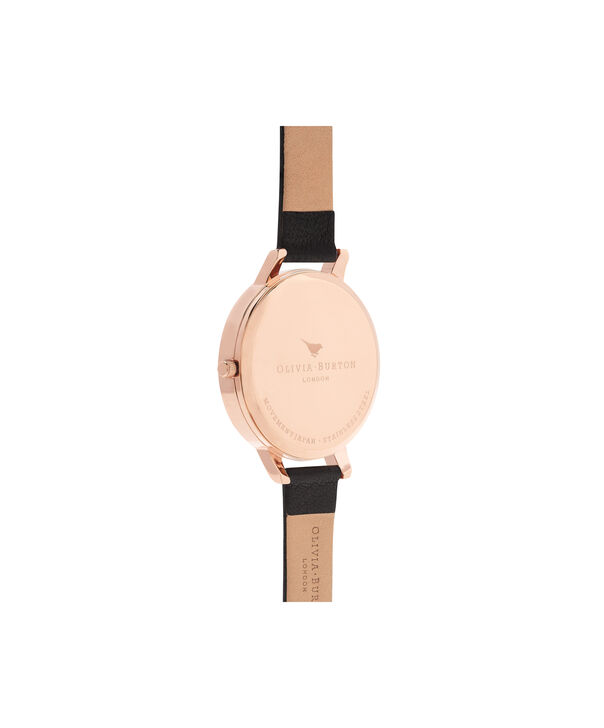 OLIVIA BURTON LONDON  Dark Bouquet Black & Rose Gold Watch OB16WG42 – Big Dial Round in Rose Gold - Back view