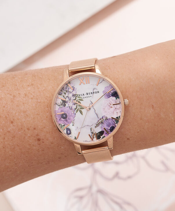 OLIVIA BURTON LONDON  Marble Floral Rose Gold Mesh Watch  OB16MF06 – Big Dial in Floral and Rose Gold - Other view
