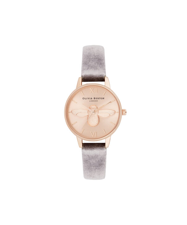 OLIVIA BURTON LONDON 3D Bee Midi Dial Watch with VelvetOB16AM160 – Midi Dial in grey and Rose Gold - Front view