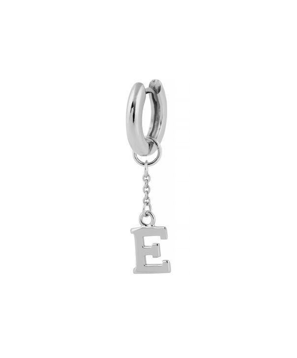 OLIVIA BURTON LONDON  E Alphabet Huggie Charm Silver OBJ16HCSE – Charms - Side view