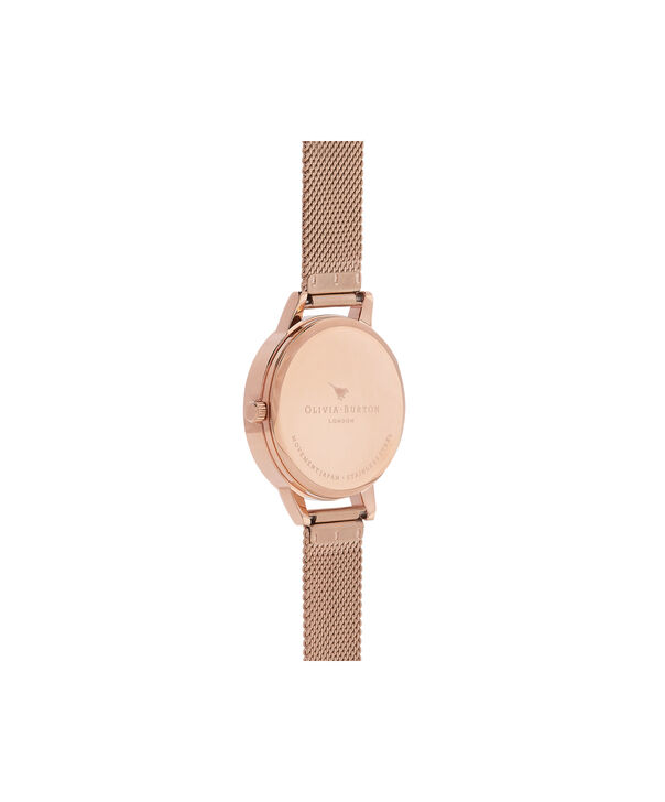 OLIVIA BURTON LONDON  Dot Design Rose Gold Mesh Watch OB16DD06 – Midi Dial Dot in Floral and Rose Gold - Back view