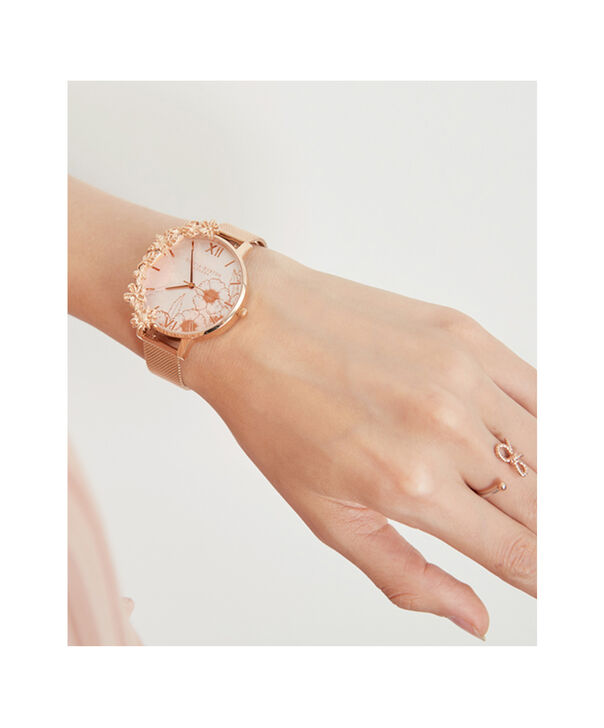 OLIVIA BURTON LONDON  Case Cuffs Rose Gold Mesh OB16CB13 – Midi Dial Round in Rose Gold - Other view
