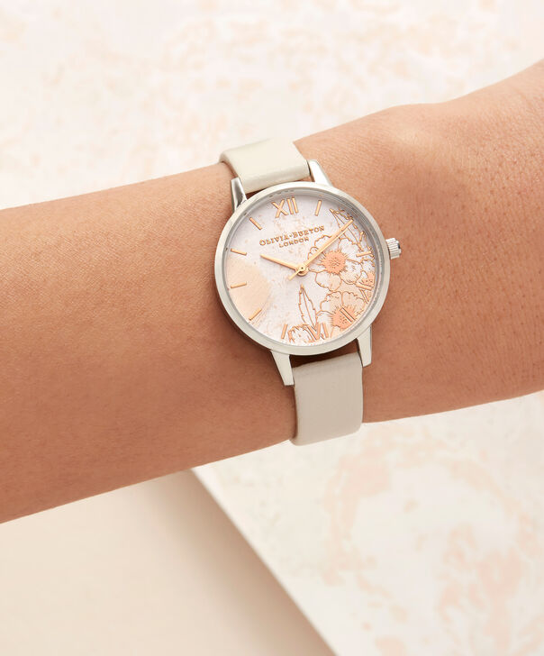 OLIVIA BURTON LONDON  Abstract Florals Nude Peach, Rose Gold & Silver OB16VM27 – Midi Dial Round in Silver and Rose Gold - Other view