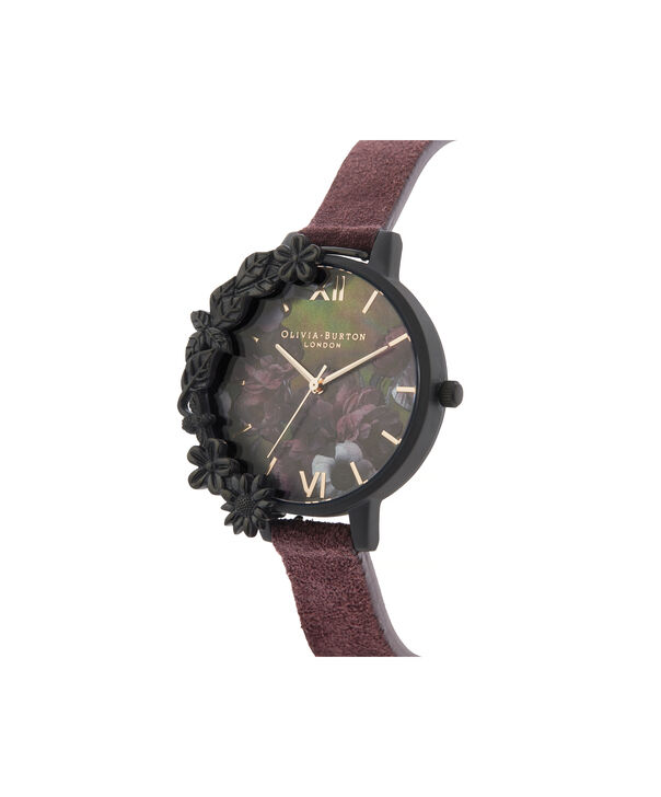 OLIVIA BURTON LONDON After Dark Case Cuff Demi Dial Watch with Wine SuedeOB16AD44 – Demi Dial in pink and Black & Rose Gold - Side view