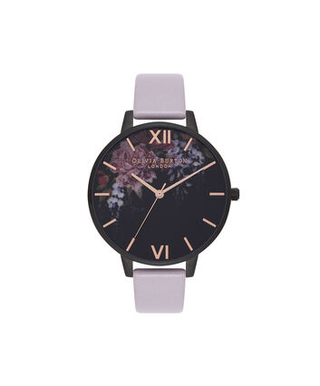 OLIVIA BURTON LONDON  After Dark Floral Grey Lilac & Matte Black Watch OB16AD15 – Big Dial in Floral and Grey Lilac - Front view