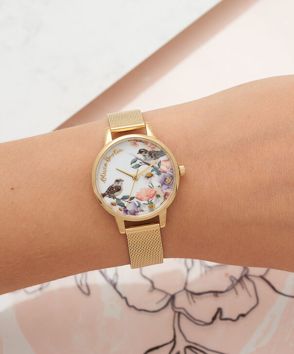 OLIVIA BURTON LONDON  English Garden Gold Mesh Watch OB16ER12 – Midi Dial Round in White and Gold - Other view