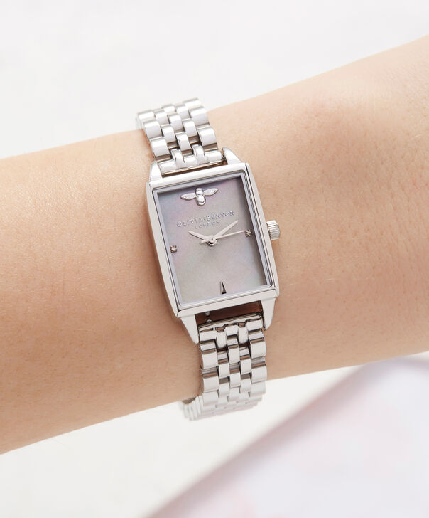 OLIVIA BURTON LONDON  Bee Hive Grey Mother of Pearl Bracelet, Silver OB16BH03 – Midi Dial Rectangle in Silver and Silver - Other view