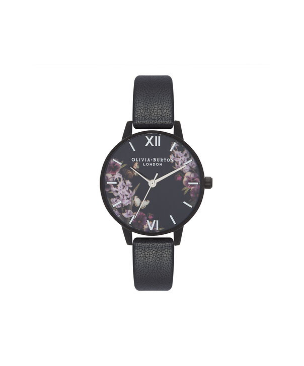 OLIVIA BURTON LONDON  After Dark Black & Ip Black Watch OB16AD22 – Midi Dial Round in Floral and Black - Front view
