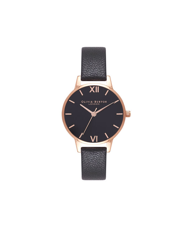OLIVIA BURTON LONDON  Midi Dial Black And Rose Gold Watch OB16MD83 – Midi Dial Round in Rose Gold and Mink - Front view