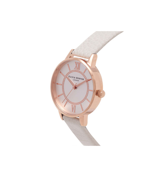OLIVIA BURTON LONDON  Wonderland Mink And Rose Gold Watch OB14WD24 – Midi Dial Round in Silver and Mink - Side view