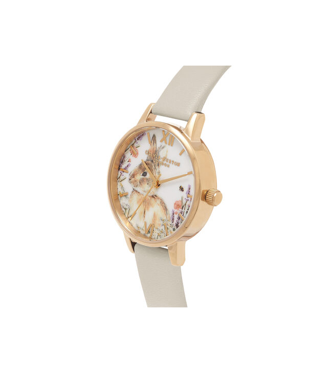 OLIVIA BURTON LONDON  Vegan Friendly Woodland Bunny Vegan Nude & Gold Watch OB16WL65 – Midi Dial Round in White and Nude - Side view
