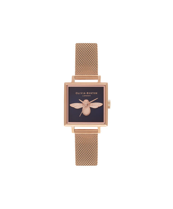 c2f6ec76c760 OLIVIA BURTON LONDON Square Dial 3D Bee Midnight & Rose Gold Mesh Watch  OB16AM96 – Midi ...