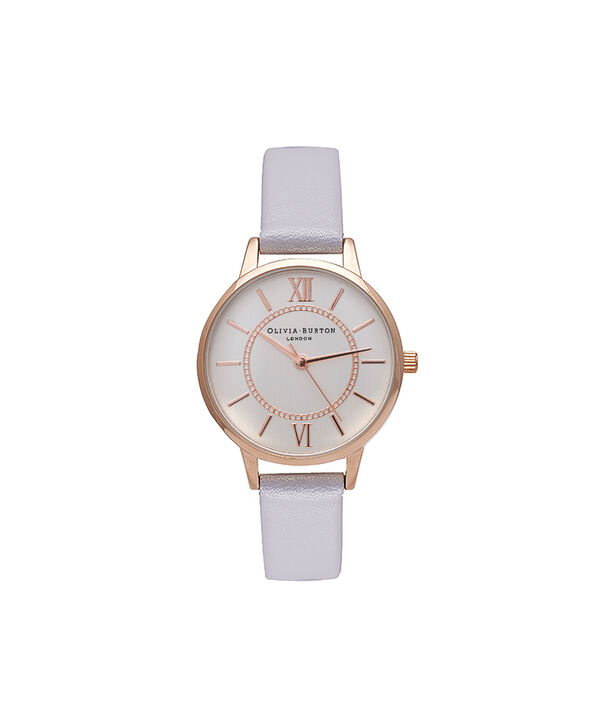 OLIVIA BURTON LONDON  Wonderland Silver & Rose Gold Watch OB15WD51 – Midi Dial Round in Silver, Rose Gold and Grey Lilac - Front view