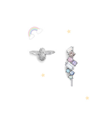 OLIVIA BURTON LONDON Rainbow Bee Crawler & Stud SilverOBJAME131 – Earrings in Silver - Front view