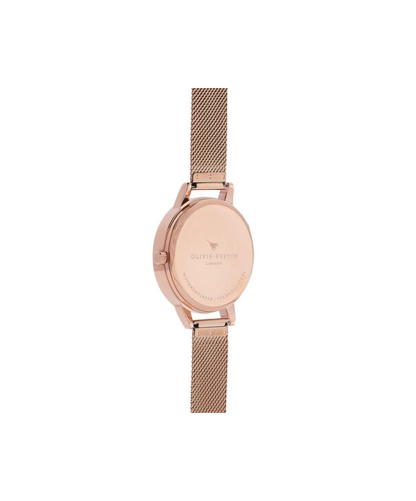OLIVIA BURTON LONDON Watercolour Florals Rose Gold Mesh WatchOB16PP39 – Midi Dial Round in White and Rose Gold - Back view