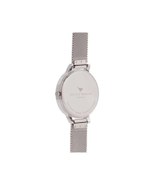 OLIVIA BURTON LONDON  Marble Floral Mesh, Rose Gold & Silver OB16MF09 – Big Dial Round in Silver , Rose Gold and Silver - Back view