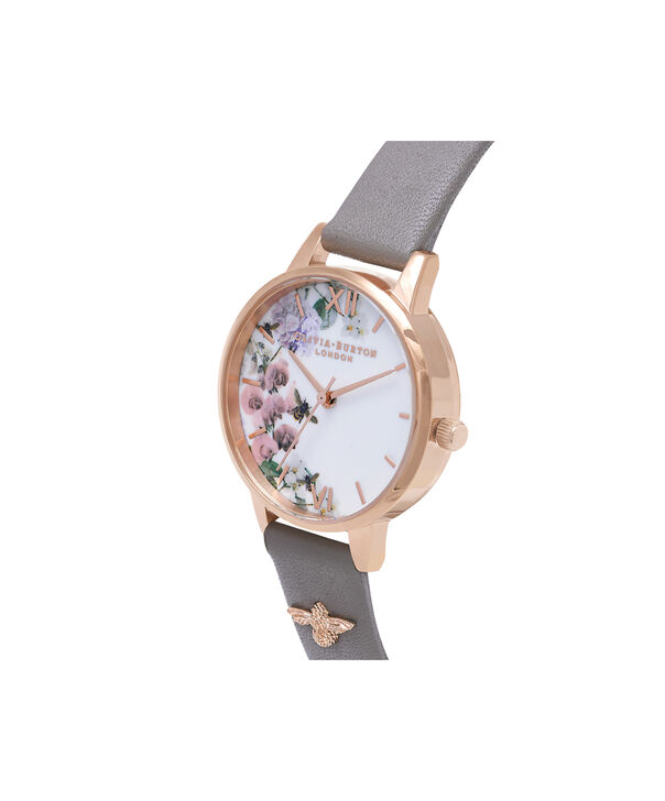 OLIVIA BURTON LONDON  Enchanted Garden Grey & Rose Gold Watch OB16ES06 – Midi Dial Round in Rose Gold and Grey - Side view