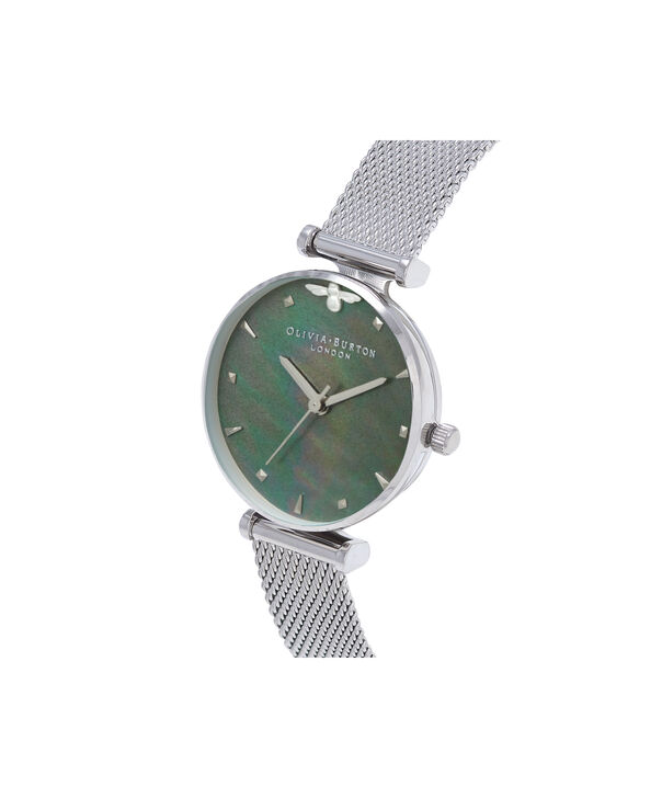 OLIVIA BURTON LONDON  Queen Bee Blue Mother of Pearl Silver Mesh OB16AM151 – Midi Dial Round in Silver - Side view
