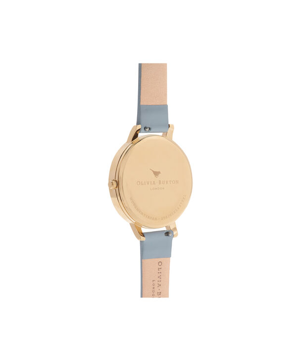 OLIVIA BURTON LONDON  Enchanted Gardens Blue & Rose Gold Watch OB16FS96 – Big Dial Round in Blue and Floral - Back view
