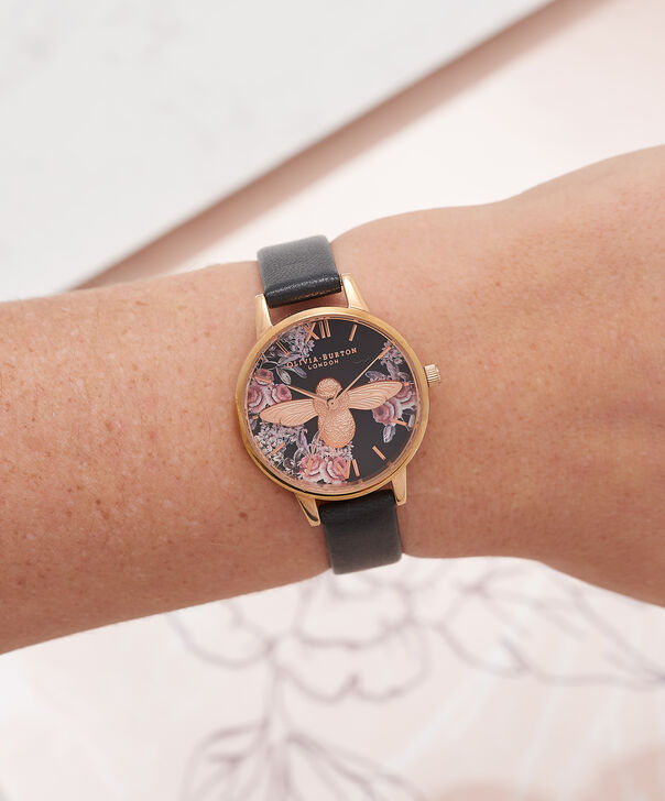 OLIVIA BURTON LONDON Botanical 3D Bee Black & Rose Gold WatchOB16AM100 – Midi Dial Round in Floral and Black - Other view