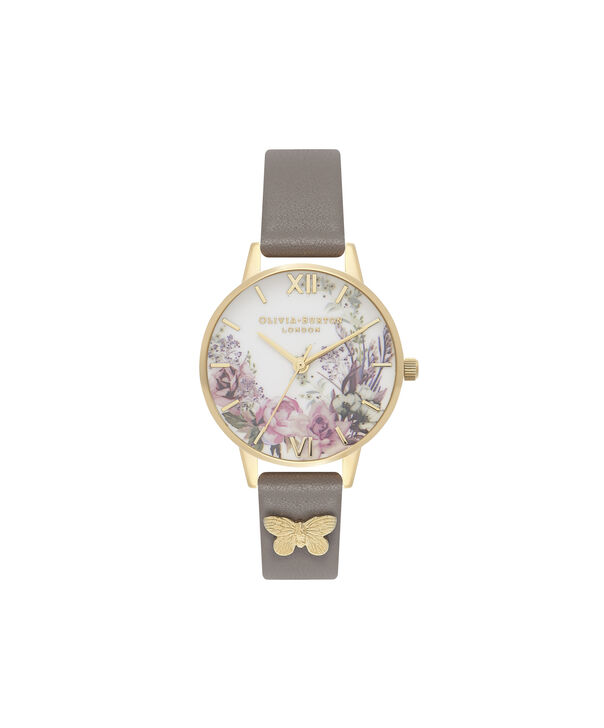 OLIVIA BURTON LONDON  Enchanted Garden London Grey & Gold OB16EG109 – Midi Dial Round in Gold and Grey - Front view