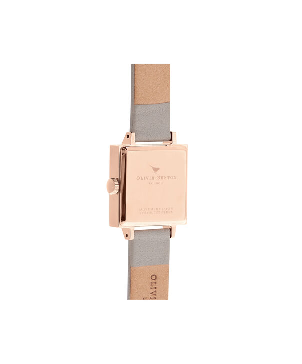 OLIVIA BURTON LONDON  Big Dial Square Dial Grey & Rose Gold Watch OB16SS03 – Midi Dial Square in White and Grey - Back view
