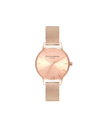 OLIVIA BURTON LONDON  Sunray Dial Midi Dial Rose Gold Mesh OB16MD84 – Midi Dial Round in Rose Gold - Front view