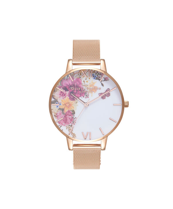 OLIVIA BURTON LONDON  Enchanted Garden Gold Mesh Watch OB16EG82 – Big Dial Round in White and Gold - Front view
