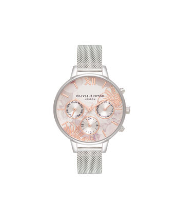 OLIVIA BURTON LONDON  Chrono Demi Dial Silver Mesh OB16CGS06 – Demi Dial Round in Silver and Silver - Front view