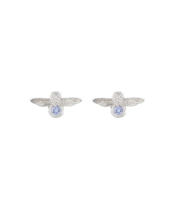 OLIVIA BURTON LONDON  3D Bee Stud Earrings Silver with Tanzanite Gemstone OBJ16AME28 – 3D Bee Bejewelled Stud Earrings - Front view
