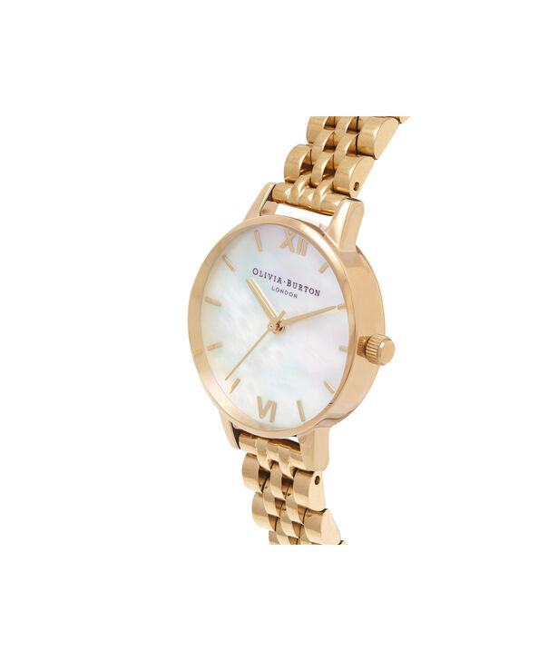 OLIVIA BURTON LONDON  Mother of Pearl White Bracelet, Gold OB16MOP01 – Midi Dial Round in Gold and Gold - Side view