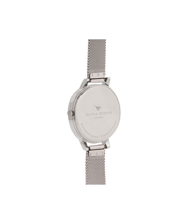 OLIVIA BURTON LONDON Rose Gold & Silver Mesh WatchOB16AM115 – Big Dial Round in White and Silver - Back view