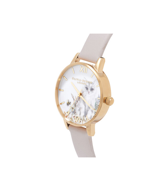 OLIVIA BURTON LONDON  Vegan Friendly Nude & Gold Watch OB16WL67 – Midi Dial Round in White and Nude - Side view