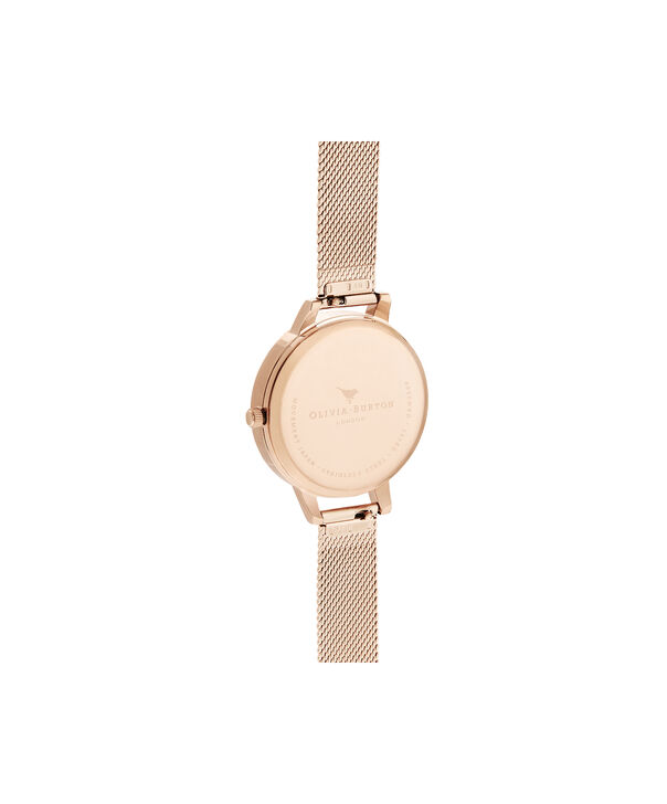 OLIVIA BURTON LONDON Bejewelled Florals Silver Glitter Dial & Rose Gold MeshOB16BF27 – Demi Dial In Rose Gold And Rose Gold - Back view