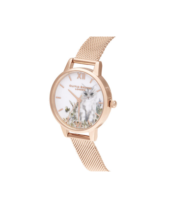 OLIVIA BURTON LONDON Illustrated Animals Cat Midi Rose Gold MeshOB16WL76 – Demi Dial In Rose Gold And Rose Gold - Side view