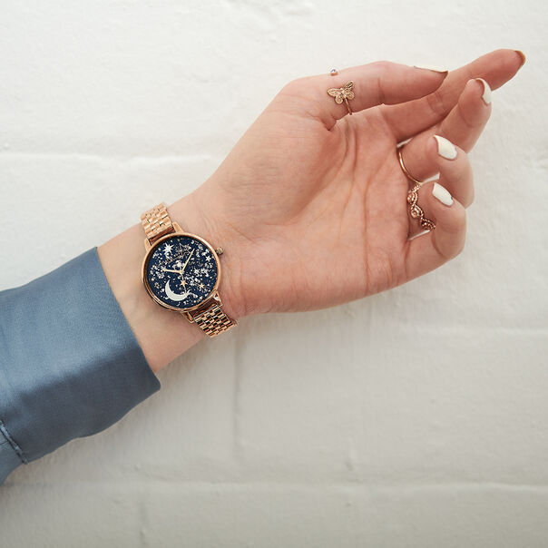 OLIVIA BURTON LONDON Ramadan Navy & Rose Gold BraceletOB16GD36 – Ramdan  Navy & Rose Gold Bracelet - Other view