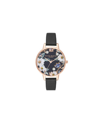 OLIVIA BURTON LONDON Bejewelled Floral and Pearl Bee Gift SetOB16GSET24 – Demi Dial in black and Rose Gold - Front view