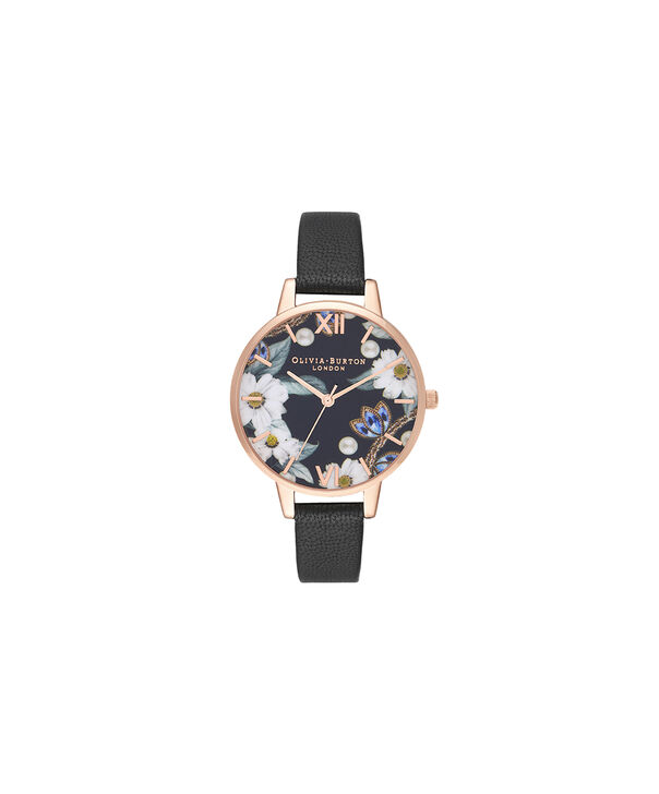 OLIVIA BURTON LONDON Bejewelled Floral and Pearl Bee Gift SetOB16GSET24 – Demi Dial in black and Rose Gold - Side view