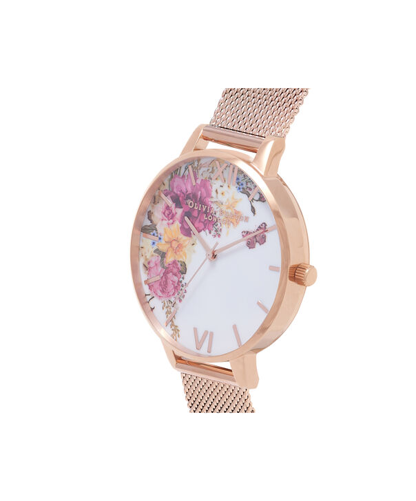 OLIVIA BURTON LONDON  Enchanted Garden Gold Mesh Watch OB16EG82 – Big Dial Round in White and Gold - Side view