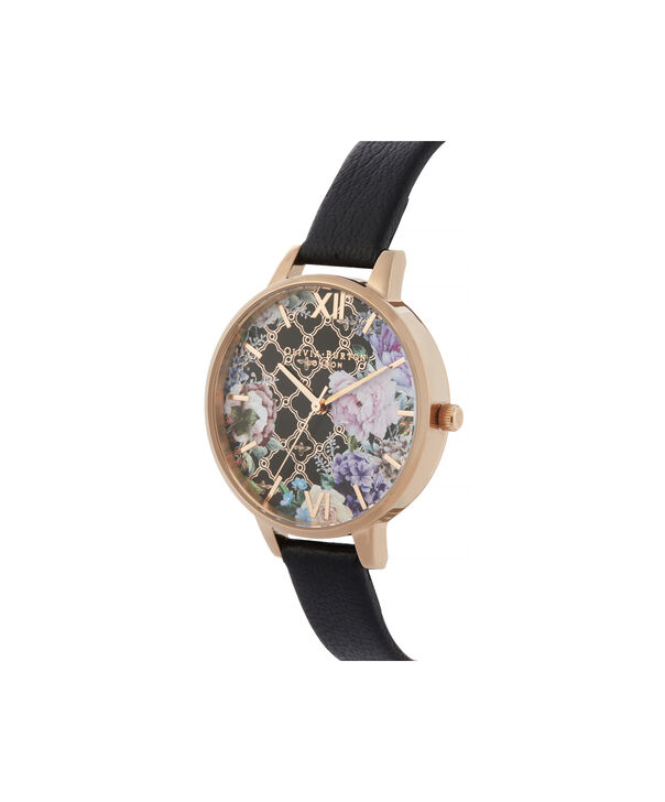 OLIVIA BURTON LONDON Glasshouse Demi Dial WatchOB16GH11 – Demi Dial in black and Rose Gold - Side view