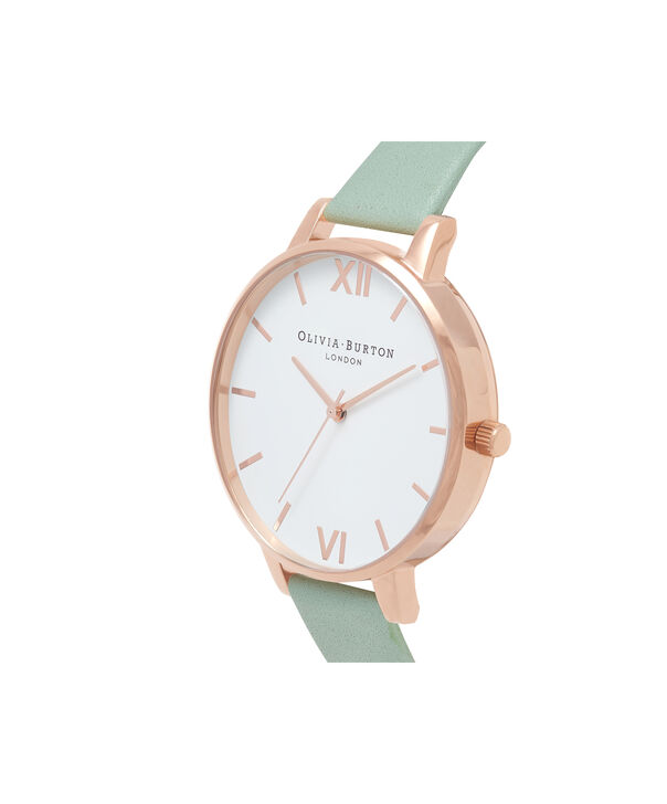 OLIVIA BURTON LONDON  Big Dial Mint & Rose Gold Watch OB16BDW27 – Big Dial Round in White and Mint - Side view