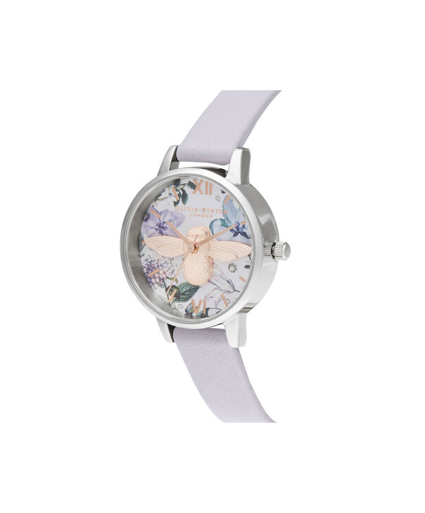 OLIVIA BURTON LONDON Bejewelled Florals Midi 3D Bee Parma Violet, Rose Gold & SilverOB16BF22 – Demi Dial In Parma Violet And Silver - Side view