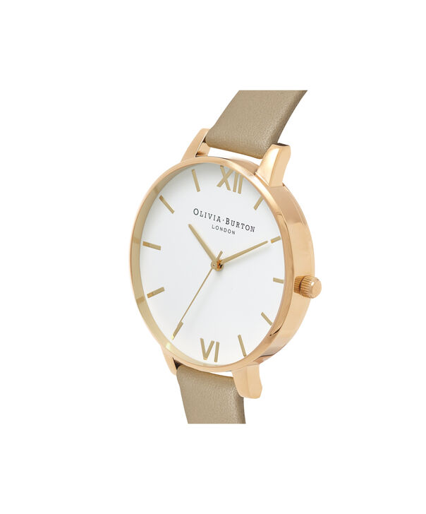 OLIVIA BURTON LONDON  White Dial Sand & Gold OB16BDW35 – Midi Dial Round in Rose Gold - Side view