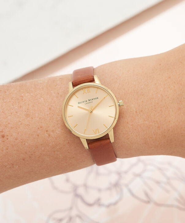OLIVIA BURTON LONDON  Midi Dial Tan And Gold Watch OB14MD22 – Midi Dial Round in Gold and Tan - Other view