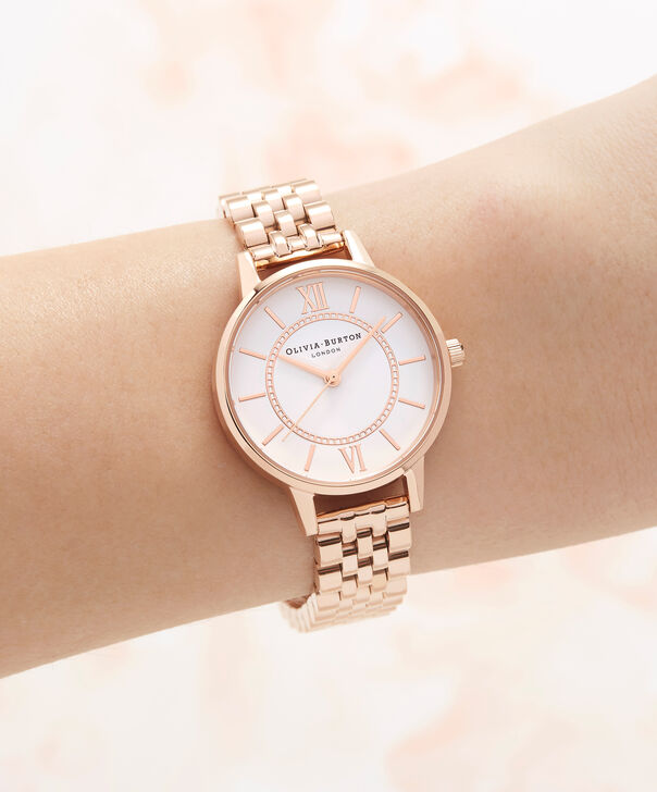 OLIVIA BURTON LONDON  Wonderland Bracelet, Rose Gold OB16WD70 – Midi Dial Round in Rose Gold - Other view